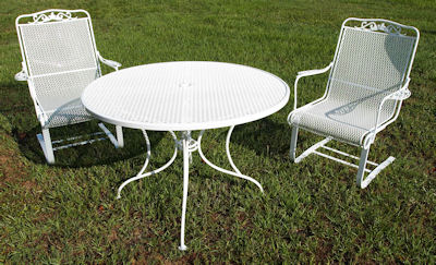 Good Classic Vintage Patio Furniture Done In Gloss White Powder Coat.